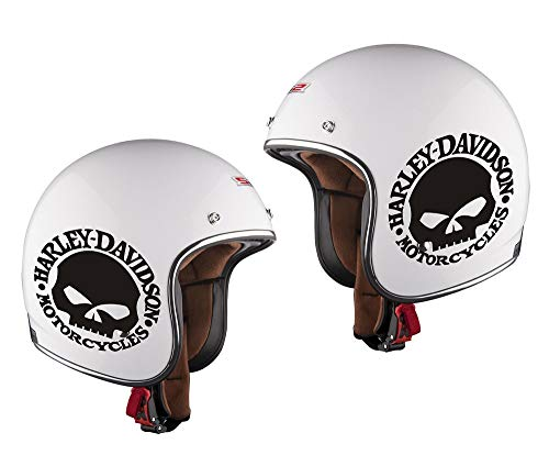 2 ADESIVI DECAL STICKERS SKULL HARLEY DAVIDSON CASCO MOTO CUSTOM BANDIT (BIANCO)