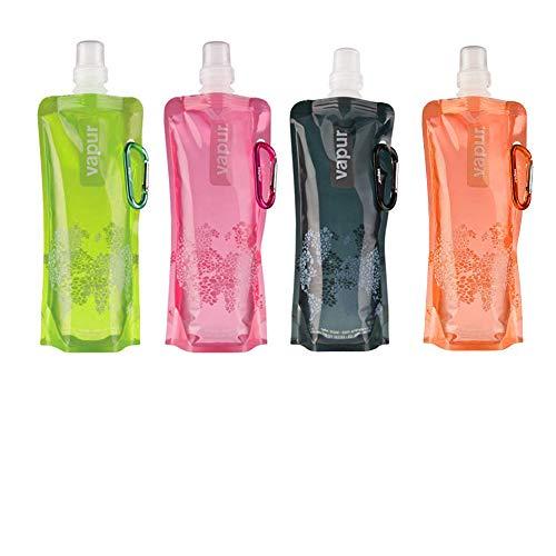 A 4 Pezzi Bottiglia d'Acqua Pieghevole, d'Acqua Riutilizzabile Pieghevole con Clip Borracce, Bottiglia d'Acqua Pieghevole per Corsa Arrampicata Campeggio e Trekking