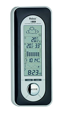 Mebus Funkwetterstation mit Wetterprognose, kabellos, 05605, silber
