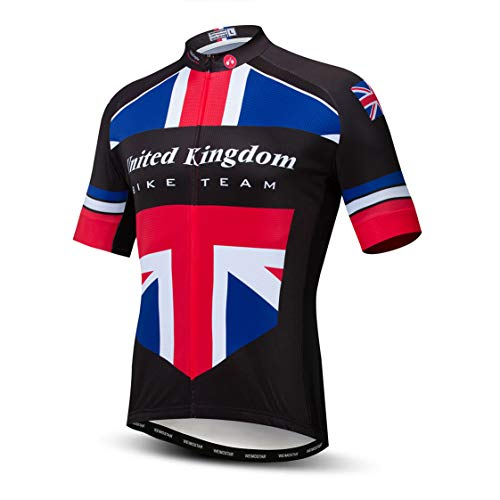Cycling Jersey Mens Bike Tops MTB Jersey Zip Mountain Road Clothing Bicycle Riding top Breathable Summer Pro Team Sports Racing Cycle Jersey for Male Sportswear Polyester UK Black Size L