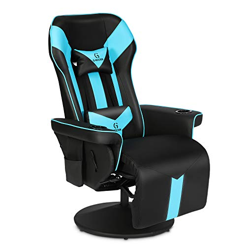 Modern-Depo G-Rocker King Throne Video Gaming Recliner Chair, Ergonomic High Back Swivel Reclining Chair with Cupholders, Headrest, Lumbar Support, Adjustable Backrest and Footrest, Black Blue