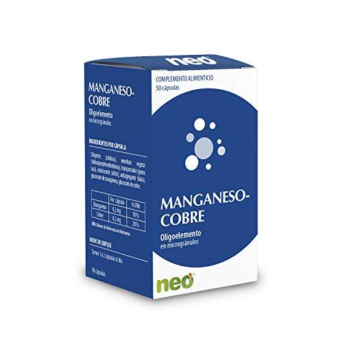 NEO   Manganeso + Cobre - 50 Cápsulas   Complemento Alimenticio Natural y Vegano para Reforzar la Memoria y Disminuir el Cansancio   Oligoelemento de Alta pureza   Tomar 1 o 2 Cápsulas al Día