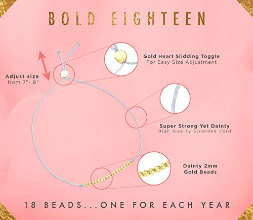 """Lucky Feather Milestone 18th Birthday Gifts for Girls – 14K Gold Dipped Beads Bracelet on Adjustable 7""""- 8"""" Cord – Bold 18 Year Old Girl Gifts"""