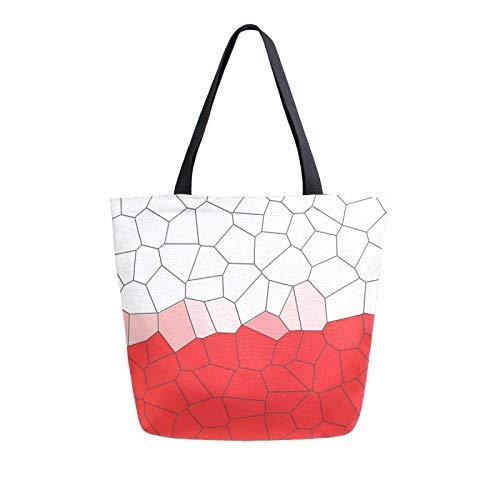 Bolsa de lona con diseño de patrón de baldosas, lavable, reutilizable, bolsa de compras para alimentos, compras, viajes, picnic, escuela, color Multicolor, talla M