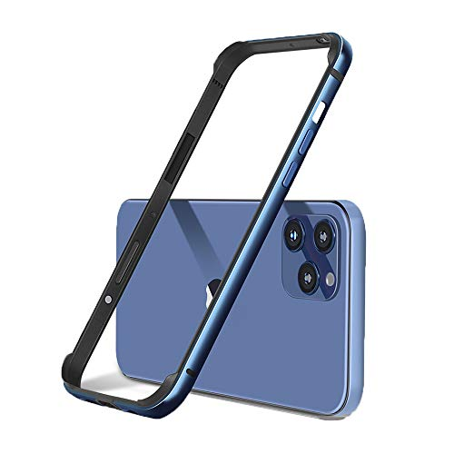 "Aluminum Frame Metal Bumper Slim Hard Case Cover for iPhone 12 Pro Max 12 Mini, Metal Frame Armor with Soft Inner Bumper, Raised Edge Protection (Blue, 6.1"" iPhone 12 or Pro)"