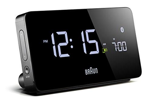 Braun Digitaler Wecker mit Bluetooth und LCD Display, iOS und Android, 2x USB-Anschlüsse, automatische Zeit- und Datumsynchronisierung, anpassbare Alarmeinstellungen, in Schwarz, Modell BNC020BK
