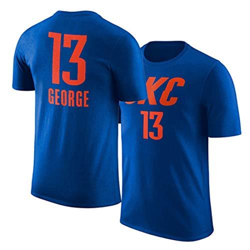 T-Shirt con Manica Corta OKC in Maglia NBA Thunder Paul George # 13 Tuta da Allenamento Mezza Manica,Navyblue(13)-2XL