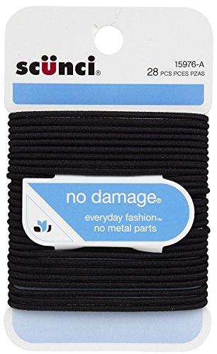 Scunci No Damage Elastic Hair Bands, Black, Medium (1597603A048)