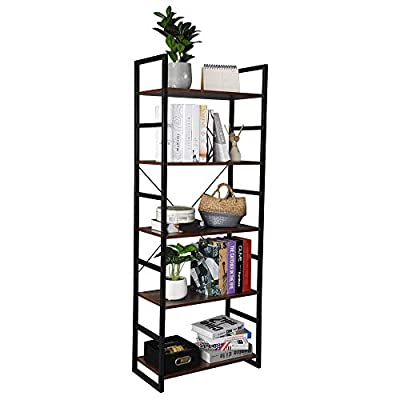 Teeker 5 Tier Vintage Bookcase Shelf Storage Or...