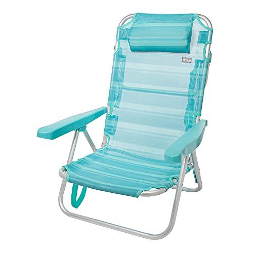 Aktive 53963 - Silla plegable de playa con cojín, Silla multiposición, 5 posiciones, 60x47x83 cm, altura del asiento 21 cm, peso máx 100 kg, estructura reforzada, aluminio y PVC, Aktive Beach