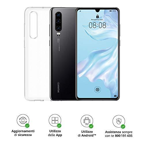 "Huawei P30 (Black) Smartphone + Cover Trasparente, 6GB RAM, Memoria 128 GB, Display 6.1"" FHD+, Processore Kirin 980, Tripla Fotocamera Posteriore 40+16+8MP, Fotocamera Anteriore da 32 MP [Italia]"