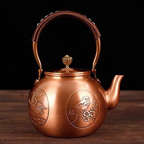 QOHG Tetera de cobre estilo japonés Kettle Kettle Antiguo Hecho a mano Hechas a mano Hervidor de cobre creativo Set-A_1200ml