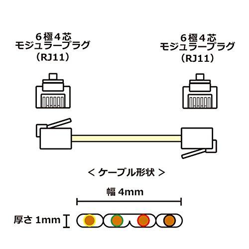 タローズTARO'Sモジュラーケーブル電話/テレホンフラット6極4芯ホワイト10mエコ簡易パッケージCMJ-F10WH