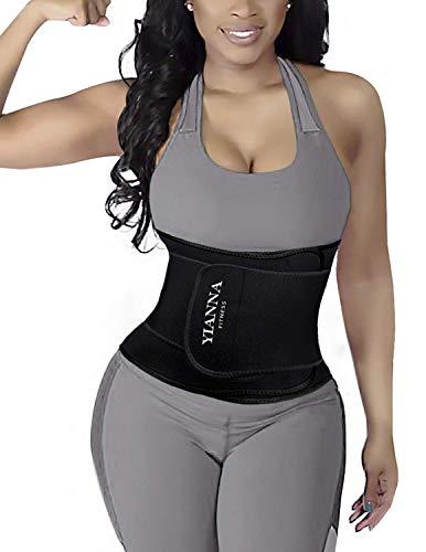 YIANNA Abnehmen Waist Trainer Bauchweggürtel 12 Stahlknochen Waist Trimmer Slimming Belt für Herren und Damen,UK-YA8010-Black-M