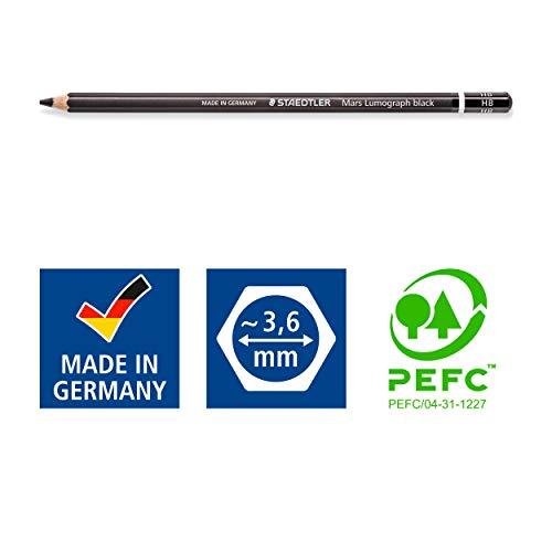 Staedtler Mars Lumograph Black, Carbon Blend Provides Jet Black Lines, Professional Art Pencils, Tin of 8 Assorted Sketch Pencils, 100B G6 Photo #6