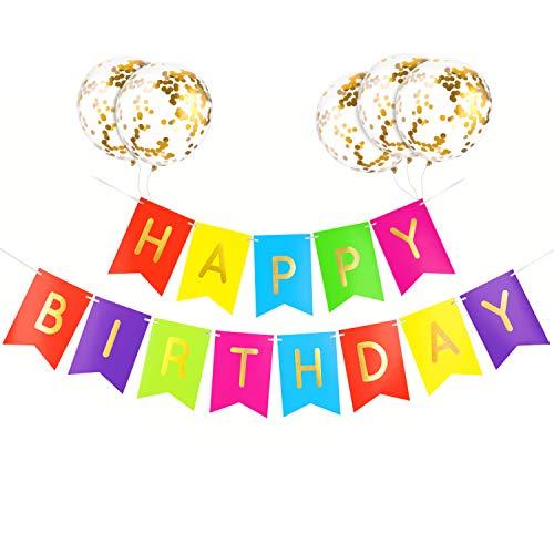 GAGAKU Happy Birthday Girlande Banner Bunte Kinder Geburtstag Party Dekorationen Mädchen Junge mit Quasten Gold Konfetti Luftballons