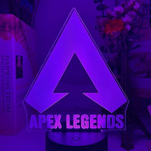 USB Niños Noche Luz 3D Acrílico Lámpara Apex Legends Juego Sala de juegos Concepto Concepto Jugadores Niños Regalo de cumpleaños