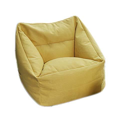 LDIW Indoor Sitzsack Hülle ohne Füllung, Premium Sitzsack Außenbezug Aufbewahrungssofa Schonbezug mit Seitentaschenideal für Jugendliche und Erwachsene,Gelb