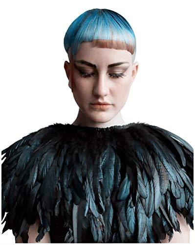 TOOKY - Collar de plumas naturales victorianas góticas para Halloween, chal