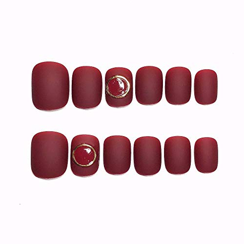 CLOAAE Beautiful matte brown red solid color with golden circle decoration 3d fake nails bride full nail tips ladies fake nails