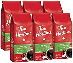 Tim Hortons Decaf Blend, Medium Roast Ground Coffee, Made with 100% Arabica Beans, 72 Ounce (6 x 12 oz Bags)