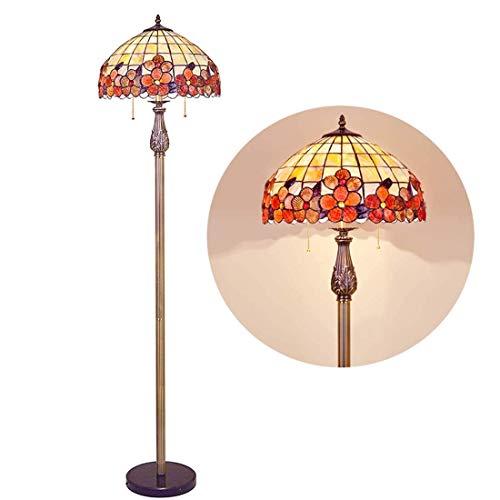 16 inch Vintage Tiffany Style Floor Lamp, 2 Light, Handmade Shell Mosaic Floor Light, Antique Rustic Base Decor LED Standing Light for Bedroom Living Room Office Reading Lamp,I (Color : 4)