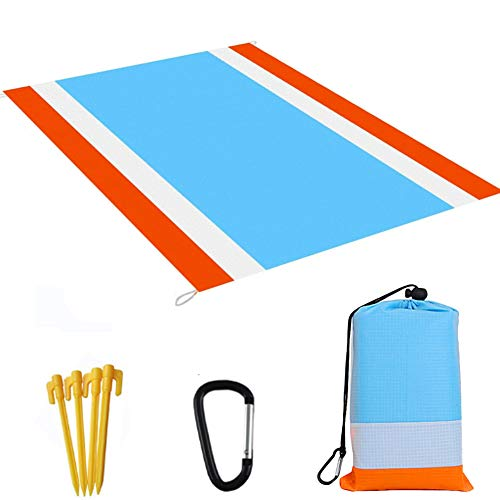 Beach Blanket, 83 x 79 Inch Oversized Waterproof Sandproof Beach Mat Picnic Blanket with Storage Pocket and Stakes for Travelling, Hiking, Camping