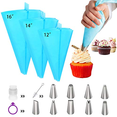 Ouddy Pastry Bags, Reusable Icing Piping Bags and Tips Set with Cake Decorating Bags(12''+14''+16''), 9 Frosting Bags, 9 Standard Couplers, 9 Icing Bag Ties Baking Supplies