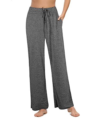 Pantalones Casuales de Pierna Ancha de Cintura Alta para Mujer, Pijama de Salón con Cintura Elástica con Cordón, Adecuado para el Hogar, el Sueño y el Ejercicio(Gris, M)