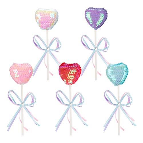 Amosfun - Molde para Tarta con Forma de corazón, para Tartas, Fiestas, postres, decoración de Mesa, Forma de corazón, 5 Unidades