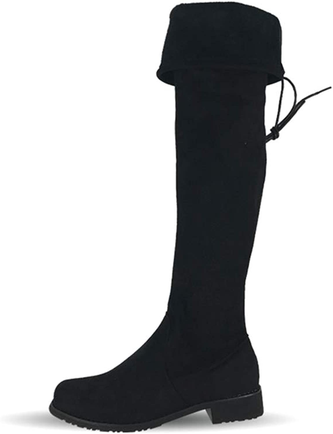 GEORPE Over The Knee Motorcycle Boots Party Low Heels Thigh High shoes