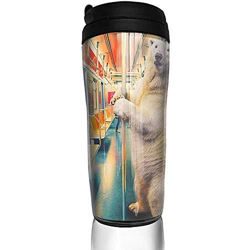 Tren expreso polar Divertido oso polar botella de agua tazas de viaje taza de café vaso vaso reutilizable taza de viaje al aire libre