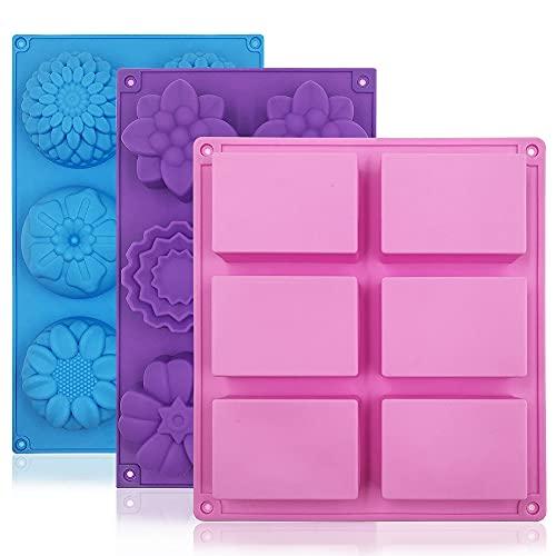 FineGood - Moldes de jabón de 3 piezas para suministros de fabricación de jabón, bandejas de muffins de silicona Moldes para pasteles Moldes de flores de silicona