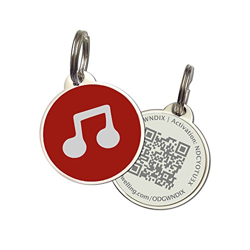 PetDwelling Advanced Red Musical Note D-Major QR Code Pet ID Tag Links to Online Profile/Emergency Contact/Medical Info/Google Map Location Stamp