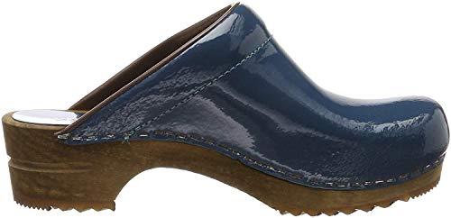 Sanita Damen Classic Patent Open Clogs, Blau (Petrole 17), 38 EU