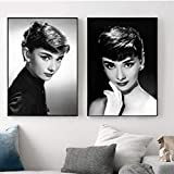 SDFSD Audrey Hepburn Hollywood Movie Star Vintage Poster Wall Art Print Canvas Painting Carteles e Impresiones Cuadros de Pared para Sala de Estar D 40 * 50cm