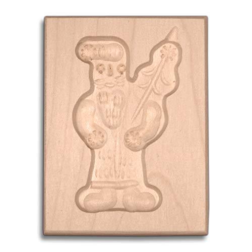 HOFMEISTER® Spekulatius-Form, 100% Made in Germany, plastikfrei backen, Motiv Nikolaus,Springerle-Formen fürKekse mit Motiv, Plätzchen-Ausstecher, Holz-Model-Backform,8cm, aus Holz
