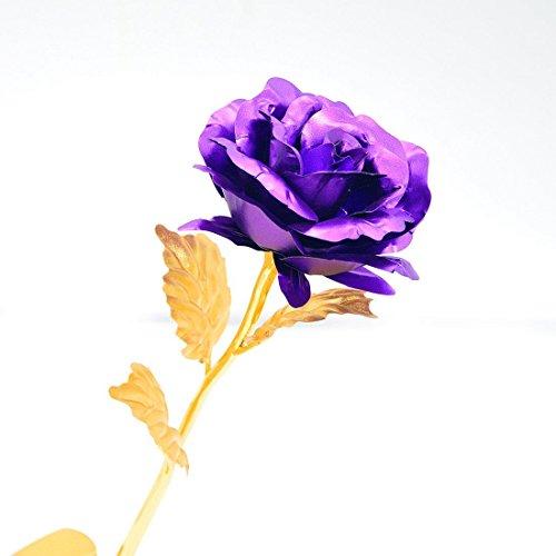 Youngine Creative Madre Regalo del día de 24 K lámina de Oro Rosa Flores Full Blossom Presenta, romántico Regalo para Ella con Caja, Hecho a Mano & Amor dure para Siempre (Púrpura)