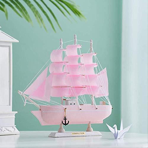 LHQ-HQ Decoración para el hogar Ornamento Figurita Modelo de barco de vela de madera estilo mediterráneo hecho a mano modelo náutico para niños regalo