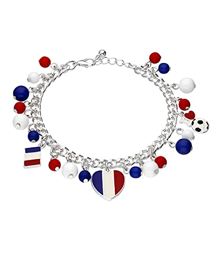 SIX Pulsera de abalorios con diseño de corazón y bandera de Francia, accesorio para el Campeonato de Europa, selección nacional (613-716)