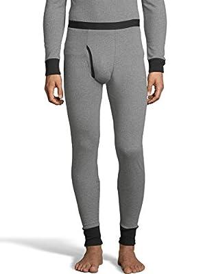 Hanes Mens 2-Color Fusion Knit Thermal Pant, XL, Grey/Black Combo
