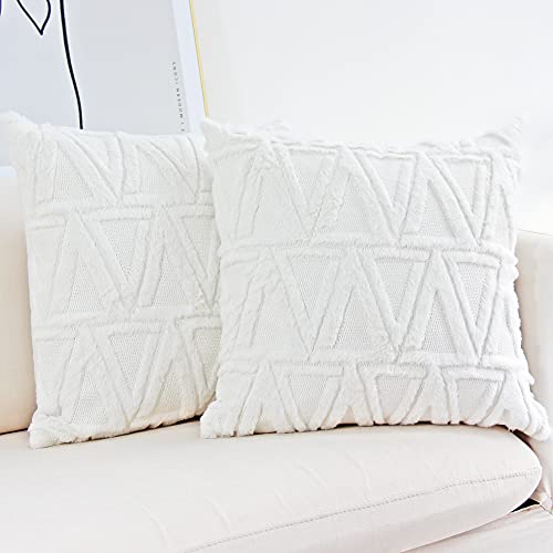 JOJUSIS Plush Short Wool Velvet Decorative Throw Pillow Covers Luxury Style Cushion Case Faux Fur Fluffy Pillowcases for Sofa Bedroom Pack of 2 18 x 18 Inch White