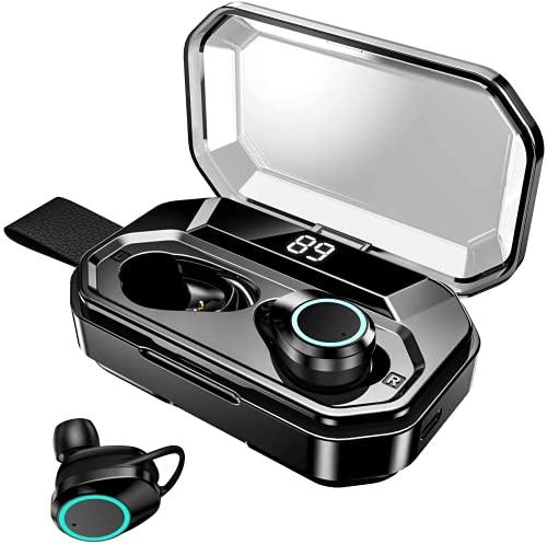 ワイヤレスイヤホンbluetooth 最新bluetooth 5.1+EDRが搭載 小型軽量 IPX7防水 左右分離型HIFI マイク内蔵 片耳/両耳ハンズフリー通CVC8.0ノイズキャンセル 高音質 重低音 安定 ブルートゥース イヤホン 自動ペアリング対応 大容量充電ケース (Pro-Black)