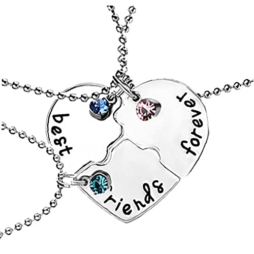 Sanfiyya 3 unids/Set Best Friend Forever Necklace Kit Rhinestone BFF Collar en Forma de corazón Colgante de la Amistad Puzzle Stitching Collar Joyería Regalo para Amigos