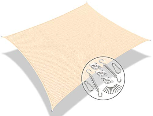 VOUNOT Toldo Vela de Sombra Rectangular 3 x 5 m, con Kits de Montaje, Protección Rayos UV y HDPE Transpirable, para Exterior, Jardin, Patio, Beige