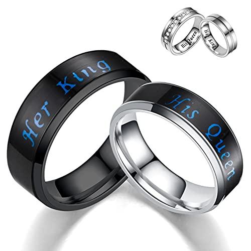 PangTuZiYin 2021 Fashion Smart King Queen Temperature Mood Anillos de Pareja de Acero Inoxidable para Amantes Promesa Regalos de San Valentín para Hombres y Mujeres