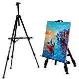 amzdeal Easel for Painting Artist Easel for Adults Tabletop/Floor Art Easels, 52cm-162cm Height Adjustable Easel, Indoor/Outdoor Picture/Poster/a2 a3 a4 Canvas Display Stand with Carry Bag, 1 Pack (Black)