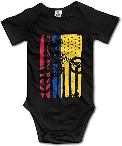 WlQshop Mono para Bebé,Mameluco Bebé Unisex American Colombia Flag Motocross Creeper Jumpsuits Short Sleeve Infant Bodies