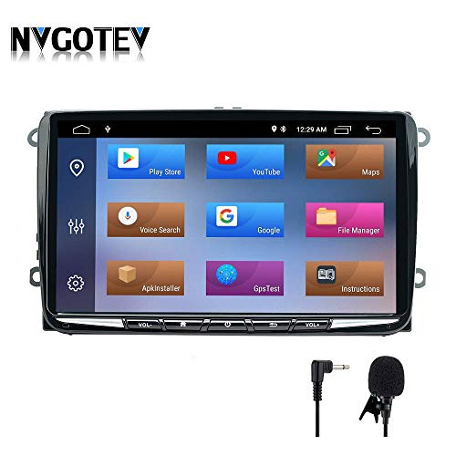 NVGOTEV Android 10 Autoradio navigatore GPS Compatibile per Golf, Single DIN Head Unit 1 DIN autoradio con Lettore CD Dvd Supporto GPS, USB, SD, FM AM RDS, DSP,Bluetooth,9 Pollici(2+32G)
