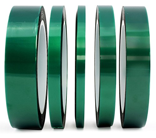 """5-Pack Green Polyester Hi-Temp Masking Tape Multi-Sized Value Bundle; 1/4"""", 1/3"""", 1/2"""", 3/4"""", & 1"""" Tape with Silicone Adhesive, Ideal for Painting, Powder Coating, Anodizing Applications"""